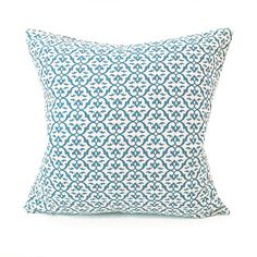 WHOA-BOHO ============= GRETA | MARINE • Linen cushion cover in a natural beige with a beautiful bright teal blue pattern • Lovingly made from our UK workroom, from fabric that is printed to order in the UK • Approx. 18 x 18 (45 x 45 cm) or 22 x 22 (55 x 55cm) or request a custom listing for any size! • Cover ONLY - Zipped and professionally sewn • 100% linen • Complete the look with a Roman Blind, Curtains or Fabric per metre...