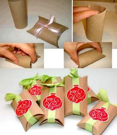 Toilet Paper Roll Crafts for Christmas! How To Make Gift Boxes out of cardboard toilet paper rolls - CREATIVE and Simple! Diy Gift Box, Diy Box, Paper Towel Roll Crafts, Paper Towels, Towel Crafts, Papier Diy, 242, Small Gift Boxes, Small Gifts