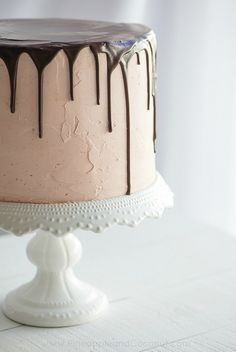 Chocolate Vanilla Tuxedo Cake with Raspberry White Chocolate Buttercream
