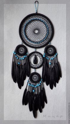 """Dreamcatcher """"Mystery"""" - buy in online store on Masters Fair with delivery - ESHWBRU Making Dream Catchers, Dream Catcher Decor, Black Dream Catcher, Dream Catcher Boho, Diy Crafts Hacks, Diy Arts And Crafts, Diy Projects, Dream Catcher Patterns, Beautiful Dream Catchers"""