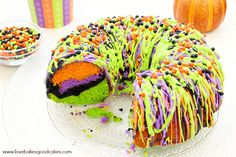 """""""Oooh"""" and """"aah"""" your guests with this impressive Halloween Bundt Cake! It is so colorful and it's easy to make."""