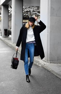 minimal outfit with baker boy hat, katiquette