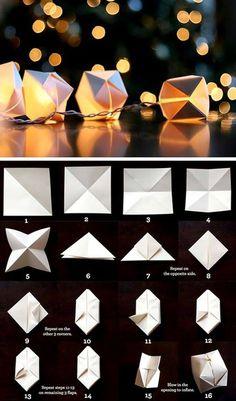 origami paper cube light, simple and sweet Wedding idea Origami Diy, Origami Tutorial, Origami Cube, Origami Balloon, Origami Boxes, Paper Balloon, Origami Ideas, Origami Hard, Origami Frog
