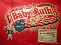 In the Curtiss Candy Company refashioned its Kandy Kake into the Baby Ruth. The bar was a staple of the Chicago-based company for seven decades. Retro Candy, Vintage Candy, Vintage Food, Retro Vintage, 1920s Advertisements, 1920s Ads, Retro Advertising, 1940s, Just Like Candy