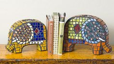 mosaic elephant bookends