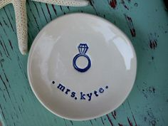Bride to Be Dish with Diamond Ring and Name or Monogram. $16.00, via Etsy.