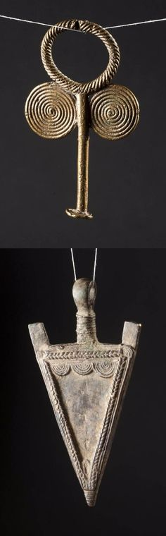 West Africa | Two bronze pendants. Possibly from Burkina Faso or the Ivory Coast.