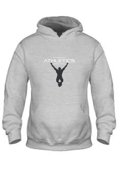 Grey Hoodie White Text Black Logo