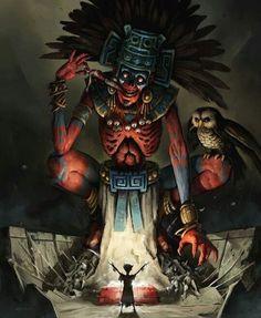 ArtStation - Lord of Mictlan, Nikita Orlov Monster Art, Fantasy Kunst, Dark Fantasy Art, Aztec Tattoo Designs, Aztec Culture, Aztec Warrior, Aztec Art, Chicano Art, Mexican Art
