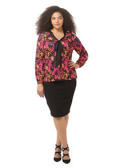 Bright Botanical Print Blouse by  Isabel + Alice  Available in sizes L-XL and 1X-5X