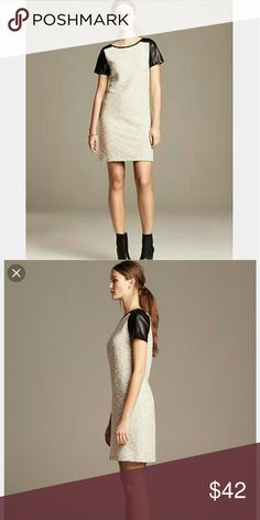 """NWT Banana Republic HeritageCollection Shift Dress HOST PICK 9/12/16!! Gorgeous Tweed Shift Dress with black faux leather sleeves. New with tags. Size 4. True to size.   34 bust  35"""" length   1091514 Banana Republic Dresses"""