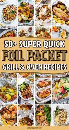 If you need a quick and easy meal for the family or next time you're camping... these awesome foil packet recipes, for both the grill and oven, will help you whip up dinner in no time! Tin Foil Dinners, Foil Packet Dinners, Foil Pack Meals, Foil Packet Recipes, Foil Meals For Camping, Easy Camping Recipes, Easy Grill Recipes, Recipes For The Grill, Easy Camping Food