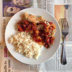 L'assiette équilibrée #3 : Poulet basquaise light et riz basmati.