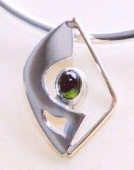 Sterling, 14k, Green Tourmaline Pendant© khdesigns.com