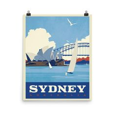 Sydney is Australia's largest city with million inhabitants. The Sydney Opera House's roof is covered with over 1 million tiles, and the Sydney Harbour Bridge is the largest steel bridge in the world. This poster has a partly glossy, partly matte finish. Posters Australia, Australia Tourism, Sydney Australia, Steel Bridge, Working Holidays, Airlie Beach, Opus, New Travel, Byron Bay