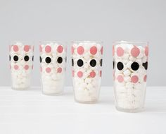 Vintage Hazel Atlas Glasses Sour Cream Glasses Pink and Black polka dot Vintage Kitchenware, Vintage Glassware, What Is Sour Cream, Carnival Glass, Dinnerware, Drinking, Polka Dots, Ceramics, Glasses