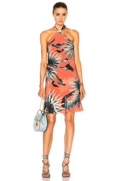 Image 1 of ADRIANA DEGREAS Maxi Flower Halter Dress in Coral bc33fab92