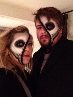 Skeleton zipper face Halloween makeup