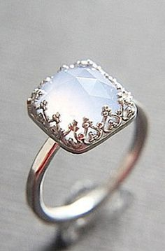 Blue Chalcedony Vintage Style Solitaire Ring