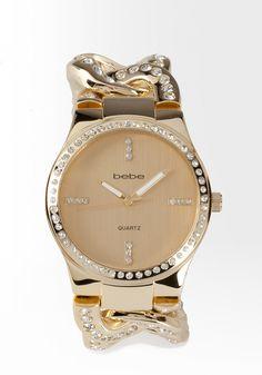 bebe | Rhinestone Link Watch & Bracelet Gift Set - Watches #bebewishlist accessorize @IlyanaCastaneda