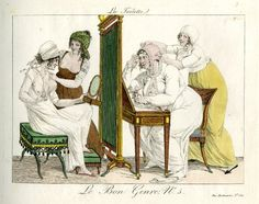 Plate 5: two scenes separated by a mirror in which ugly women are dressed for the day by their charming and beautiful maids.  1801-2?  Hand-coloured etching