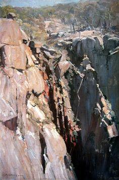 "Arthur Streeton - Australian - landscape painter and leading member of the Heidelberg School, also known as Australian Impressionism, ""Cliff"", Oil on canvas, 75 x cm Australian Painting, Australian Artists, Landscape Art, Landscape Paintings, Mountain Paintings, Art Graphique, Land Art, Art Oil, Painting Inspiration"