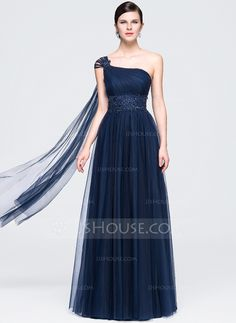 A-Line/Princess One-Shoulder Floor-Length Ruffle Beading Appliques Lace Sequins Zipper Up at Side Regular Straps Sleeveless No Dark Navy Spring Fall General Plus Tulle Evening Dress
