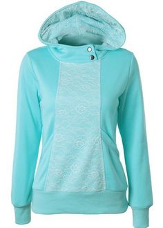 Long Sleeve Lace Panel Blue Hoodies on sale only US$23.88 now, buy cheap Long Sleeve Lace Panel Blue Hoodies at modlily.com