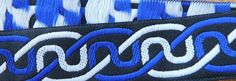 Jacquard woven trim. It measures 1 Price is per yard. Yardage cut in one continuous piece. Cut from the original roll. Celtic knot pattern. Blue, black, and white.