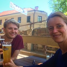 Today a #photo behind the scenes   These are Waldemar and me ... the once I always refer to when using WE in my comments  We're having a cool #beer in the #sun of #Vilnius.  #wanderlust #lunch #outdoors #realpeople