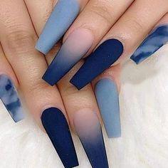 Blue fashion nailart in 2020 | Summer acrylic nails, Best ... #nails #easynail #nailart Edgy Nails, Dope Nails, Stylish Nails, Trendy Nails, Grunge Nails, Fun Nails, Blue Acrylic Nails, Acrylic Nails Coffin Short, Summer Acrylic Nails