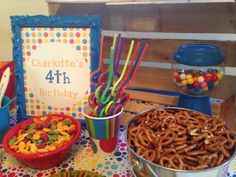table birthday sign and rainbow straws. rainbow polka dot painting party.