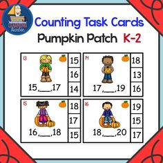 Find the number that comes between two given numbers with these differentiated math, task cards. Young learners will enjoy the pumpkin patch theme. Low prep now and use for years to come.  Cutting is easy with all straight lines.