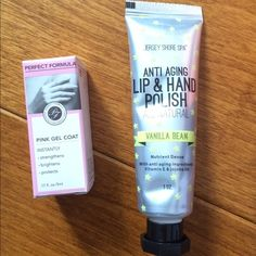 Perfect Formula Pink Gel Coat/Lip & Hand Polish Perfect Formula Pink Gel Coat and Jersey Shore Anti Aging Lip and Hand Polish Set. Wonderful set for beautiful nails and hands. Both items have never been opened before. The lip and hand polish is 1 ounce. The pink gel coat is .17 fluid ounce. Makeup