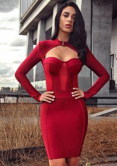 75759ac111c9 Melrose High Neck Bustier Long Sleeve Bandage Dress