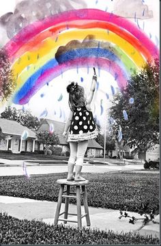 That's awesome -Take photo and then let child add his art to it - or take photo of child's art and layer it onto photo.  Photoshop