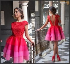 Red Evening Dresses Tiered Skirts Sexy Back Bateau Neck Capped Sleeves Red Carpet Dresses Short Party Dress Knee Length 2016 Appliques Prom Prom Dress Shops In London Prom Dresses For Teens From Lovemydress, $78.5| Dhgate.Com