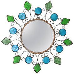 Spanish  Blue and green glasses Iron Mirror Wall Sconce
