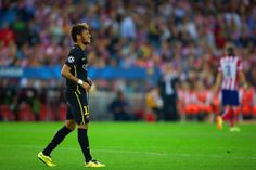 A dejected Neymar of Barcelona at the final whistle during the UEFA Champions League Quarter Final second leg match between Club Atletico de Madrid and FC Barcelona at Vicente Calderon Stadium on April 9, 2014 in Madrid, Spain.