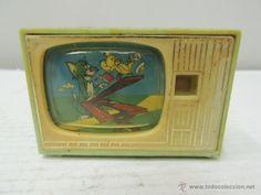 Antiguo Juguete Televisor con Dibujos Animados