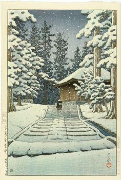 Kawase Hasui, Konjikido in Snow at Hiraizumi, 1957