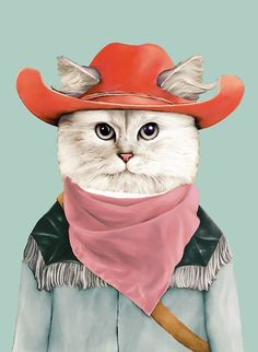 Cat Cowboy Art Print | Rodeo Cat Print | Cute Cat | Kitty Print | Animal Art Print | Animalcrew