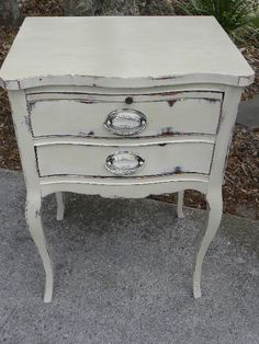 Vintage Painted 2 Drawer Side Table Annie Sloan Old by onlinechic, $175.00