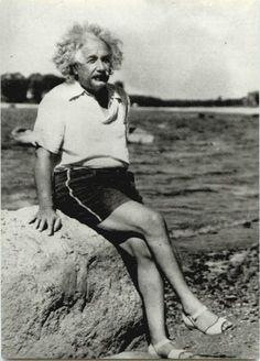 Albert Einstein had nice legs...But the shoes totally disturb me.