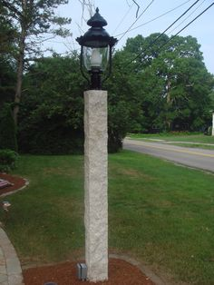 Light post for driveway design ideas pictures remodel and decor granite light post install mozeypictures Image collections
