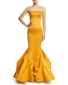 Strapless Fitted Gown W/Trumpet Skirt, Marigold by Zac Posen at Bergdorf Goodman.