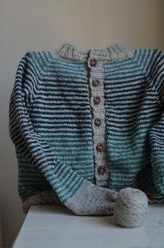 Stripey Cardigan, almost finished by osloann, via Flickr. Yarn   Kauni Wool 8/2 Effektgarn