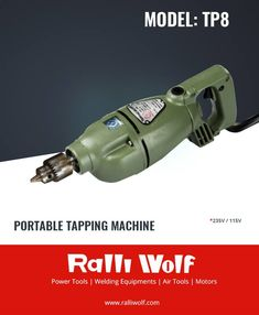 The unique design feature of Ralliwolf TP8 is its automatic gear reversal mechanism. Its mechanical auto reverse provision eliminates the dependability on delicate electronic reverse forward mechanism making it a very sturdy portable tapping machine.