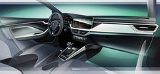 The new ŠKODA SCALA has let us take a look at its interior, featuring a large infotainment display protruding from the dashboard, new materials, and the largest luggage compart for a car in the C-segment. Car Interior Sketch, Interior Concept, Large Luggage, Car Ins, Car Seats, Golf, Google Search, Storyboard, Sketches