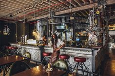 The Truth Coffee Shop in Cape Town, South Africa. This steampunk-themed coffee shop was created by Heldane Martin. Steampunk Interior, Steampunk Cafe, Steampunk Design, Steampunk Bedroom, Steampunk Kitchen, Steampunk Furniture, Steampunk House, Deco Design, Cafe Design